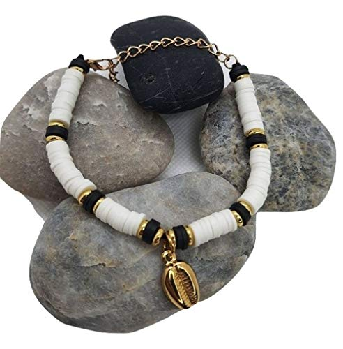 Heishi Costume Jewellery Bracelet with White Black Gold Beads and Shell Charms Stainless Steel Made in France