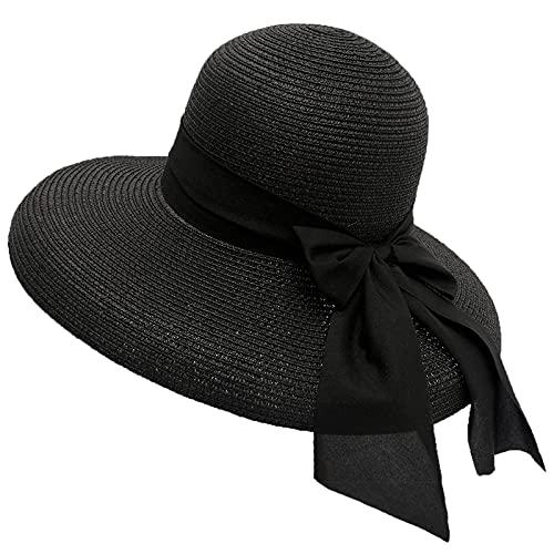 N\C Sombrero de Paja de protección Solar para Mujer, Sombrero para el Sol de Vacaciones Junto al mar, Gorra de Sombrero con Pantalla...