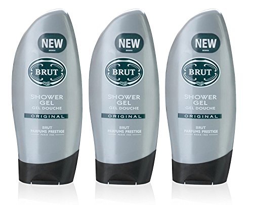 3x Brut Original SHOWER GEL Mens Body Wash 250ml by Faberge by Brut