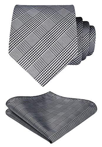 HISDERN Herren Krawatte Taschentuch Check Krawatte & Einstecktuch Set Schwarz-Weiss