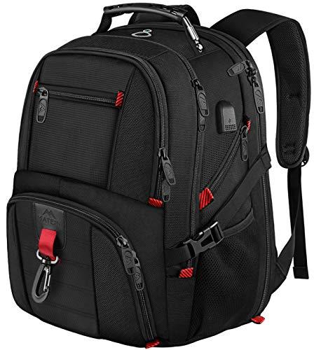 Laptop Rucksack Herren, 18 Zoll Grosser Arbeitsrucksack Reiserucksack Wasserdicht, mit USB Ladeanschluss, Business Rucksack für 18 Zoll laptop, Geschenk für Männer Frauen Reise, Schwarz