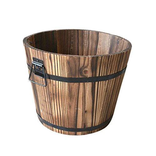 precauti Pflanzkübel Holzfass Blumenkübel Aus Holz Rund Blumentopf Übertopf Barrel Für Blumentopf Dekorative Lagerorganisator