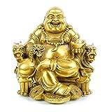 Charm Fengshui statua di Buddha per Lucky & Happiness Dio della ricchezza, ridere Buddha su Imperatore drago di sedia, ottone buddista statue e sculture Home Decor Congratulatory regali Large Brass