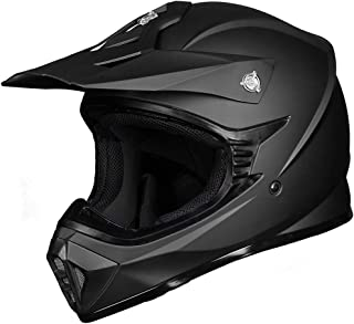 ILM Youth Kids ATV Motocross Dirt Bike Motorcycle BMX MX Downhill Off-Road MTB Mountain Bike Helmet DOT Approved (Matte Black, Youth-XL)