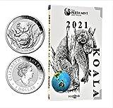 Australia 2021 1 oz plata Koala brillante sin circulación en la cápsula de monedas + caja