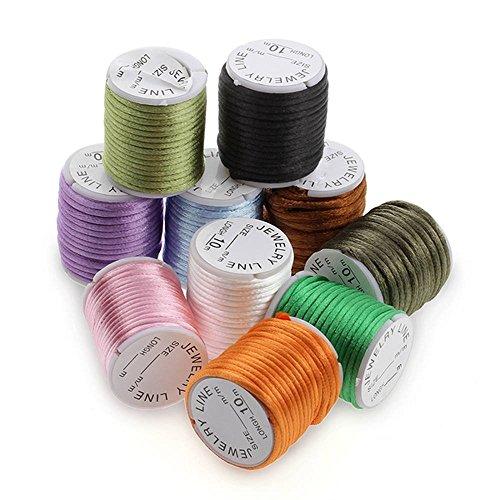 Ecloud Shop® 10X Rollo Cordón Nilón Colores para Collar Pulsera Abalorios Bisutería