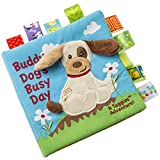 Taggies Touch & Feel Soft Cloth Book with Crinkle Paper and Squeaker, Buddy Dog