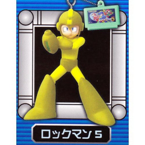 Megaman Rockman Phone Key Chain Strap Figure System - Megaman (Yellow) with Megaman 5 Cartridge