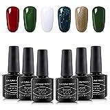 Lagunamoon Gel Nagellack UV LED, Auswahl von 6 Farben des Weihnachtsthema Sets, Gel Polish Soak off 8ML - Weihnachtsbaum