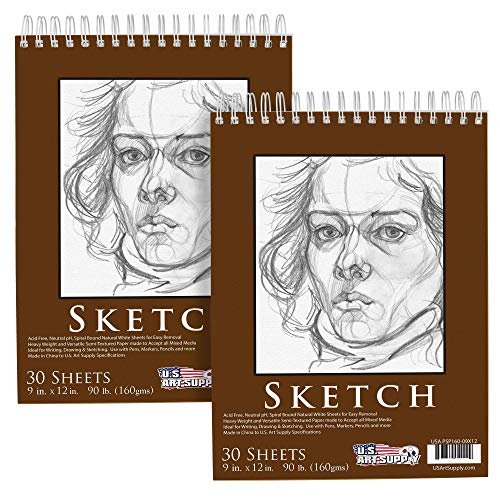 """U.S. Art Supply 9"""" x 12"""" Premium Heavy-Weight Paper Spiral Bound Sketch Pad, 90 Pound (160gsm), Pad of 30-Sheets (Pack of 2 Pads)"""