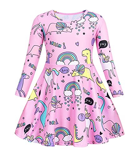 Kantenia Dinosaur Unicorn Dress Long Sleeve Casual Holiday Playwear Birthday Party Christmas Outfit for Girls 5-6 Years
