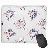 マウスパッド かわいい かわいいゲーミングマウスパッド、デスクマウスパッド、ラップトップコンピューター用の小型マウスパッド、マウスマットブラウンの花フランスパターンマグノリアngeaオーキッドピンクアロマ