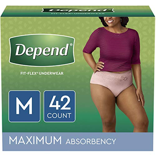 Depend fit-flex Incontinence Underwear for Women, Disposable, Maximum Absorbency, Medium, 42 count