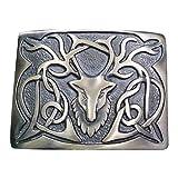 Scottich Kilt Belt Buckle Stag Head Design Antique Plated