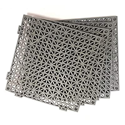 "4pcs Modular Interlocking Cushion 11.5"" x 11.5"" Floor Tile Mat Mats Drain Pool Shower Home Indoor/Outdoor (Gray)"