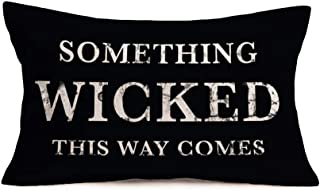 Smilyard Vintage Halloween Pillow Covers Something Wicked This Way Comes Quote Pillow Case Cushion Cover Cotton Linen Black Rectangle Pillowcase for Home Couch Bedroom 12x20 Inch(B-Wicked)