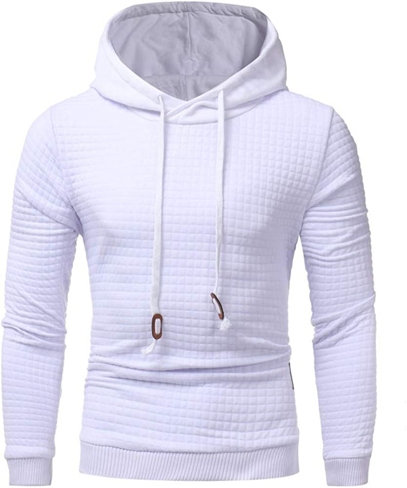 Misaky Hoodies for Men Autumn Winter Plaid Solid Color Long Sleeve Pullover Hoodie Sweatshirt Tops Outwear