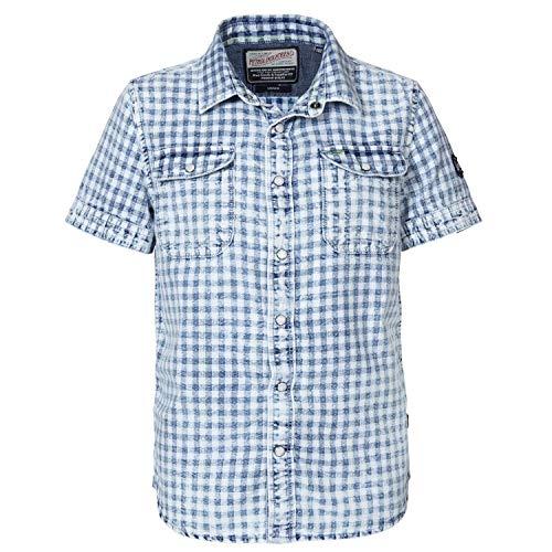 Petrol Industries - Jungen Hemd, Kurzarmhemd, Petrol Ind, weiß blau kariert - SIS444, Größe 128
