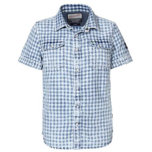 Petrol Industries - Jungen Hemd, Kurzarmhemd, Petrol Ind, weiß blau kariert - SIS444, Größe 164