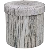 Sorbus Storage Ottoman, 15 Inch Cute 3D Play Room Stool Toy Box – Foldable with Lid – Perfect Footstool, Pouffe, Hassock, Strong & Sturdy Space Saving Chest (Tree Stump - Gray)