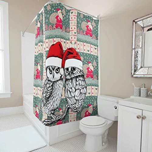 Ainiteey Christmas Animal Happy praktisch klassiek gestreept badgordijn met haak voor bad helder polyester weefsel