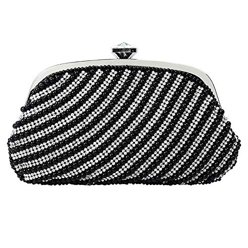JIAGU Bolso de Fiesta Rhinestone de la Perla Monedero Correa de Mano Diagonal Bolso de la Cena de Vestir (Color : Black, Size : 23.5cm x 15cm)