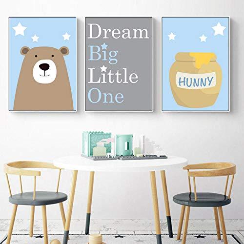 xwwnzdq kinderkamer karikatuur canvas schilderij beer poster en honing citaat prints pakken blauw grijs afbeeldingen voor woonkamer en slaapkamer decor no frame 50x70cm 3 stuks.