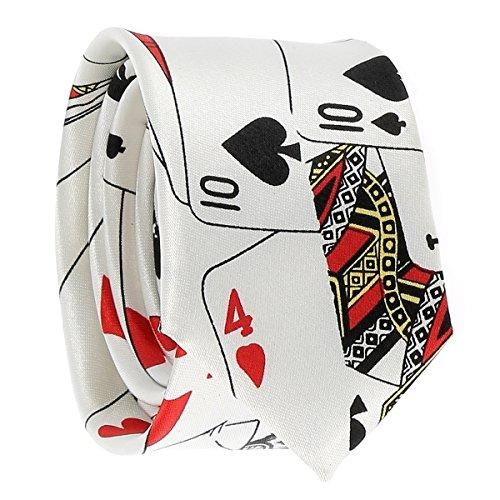 Cravate Jeux de Cartes Blanche - Cravate Fantaisie Originale Poker Casino