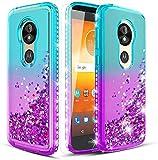 Wallme Motorola Moto E5 Play Case, E5 Cruise/ E5 GO Phone Case / Glitter Diamond Waterfall Quicksand Sparkle Cover for Girls/Women-Teal/Purple