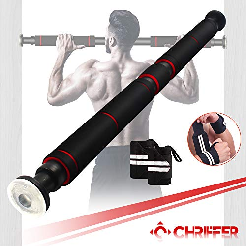 Chriffer Pull Up Bar, Chin up Bar for Doorway, Heavy Duty Door Exercise Bar Without Screw Installation, 26 to 39 Inches Adjustable Length for Home Gym Body Workout Fitness with 1 Pair of Bracers