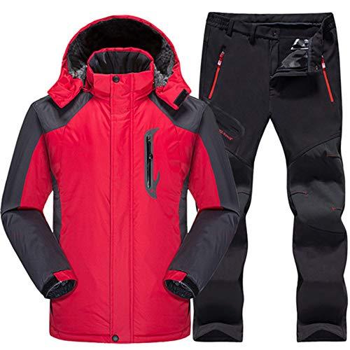 USTZFTBCL Tuta da Sci Uomo Impermeabile Snowboard Giacca in Pile + Pantaloni Uomo Sci di Montagna Snowboard Set di Vestiti Invernali da Neve Red Black Set XXL