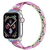 QINJIE Correa Compatible con Apple Watch 6/5/4/3/2/1 Correa de Pulsera de Acero Inoxidable para Mujer Elegante Pulsera de Metal Correa de Metal Delgada y Elegante,A,38MM