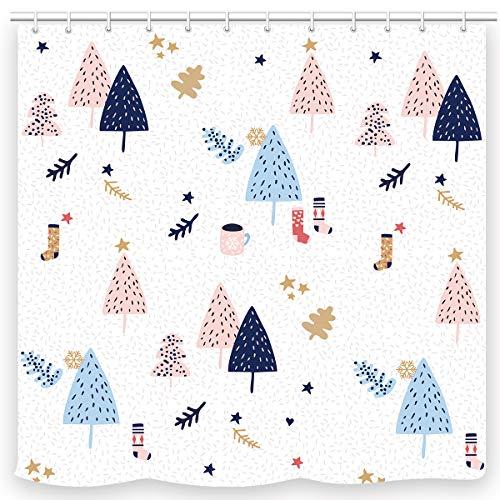 UNIFEEL Christmas Holiday Fabric Shower Curtain Merry Christmas Trees and Socks Print Pattern Bathroom Decoration Curtain