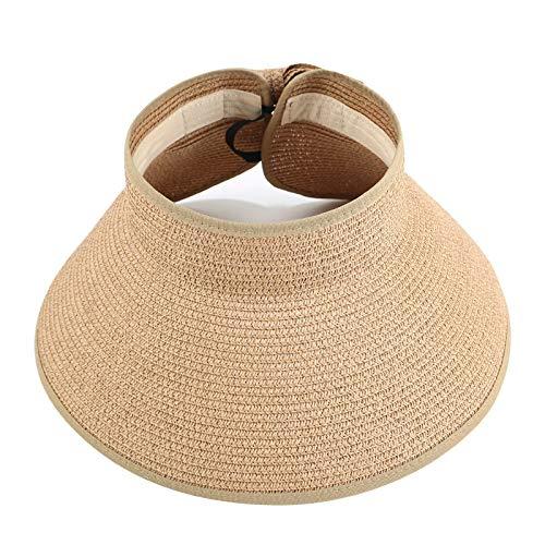 JFAN Sombrero de Paja Plegable para Mujer Sombrero de Paja Ajustable 56-59cm Gorra de Visera Plegable Sombrero de Sol con Lazo para Sombrero de Paja de Verano