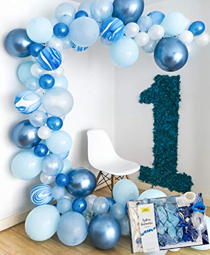 Frozen Blue Balloon Garland Kit I 16ft Chrome Arch, Baby Hen Bridal Shower Birthday Ocean Sea Snow - by TOKYO SATURDAY (Snow Blue) 14' Tiffany Style Table