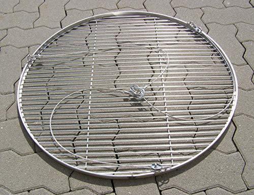 70 cm Edelstahl Grillrost ca. 14 mm Grill Rost mit Seil V2A 1.4301 für Schwenkgrill Dreibein Rund Grillgitter Feuerstelle