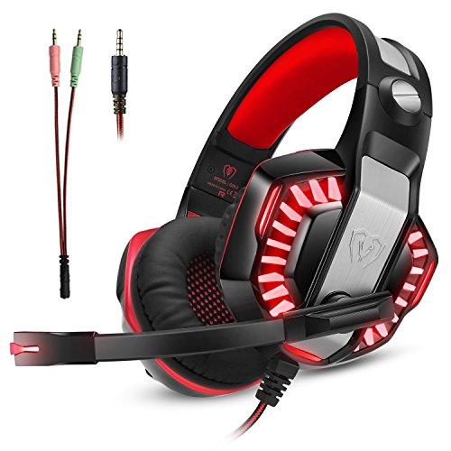 Micolindun Gaming Headset Kopfhörer Gamer mit Mikrofon PC, PS4, Xbox One, Laptop, Tablet, Mac, Handy mit LED Extremer Komfort Bass Stereo Sound (inkl. Adapter)