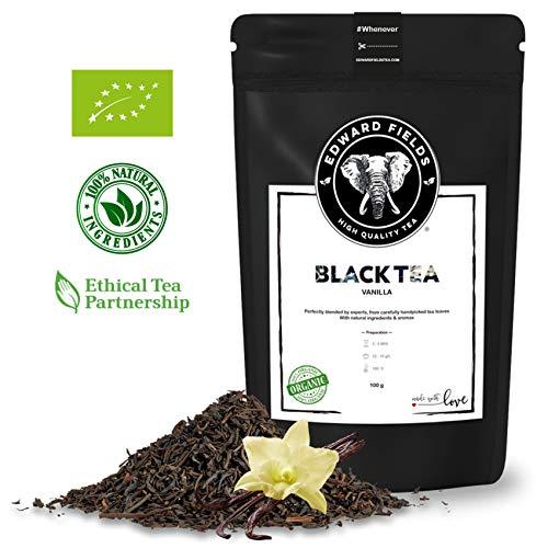 Edward Fields - Té Negro Orgánico de alta calidad con Vainilla. Ingredientes y aromas naturales. Cantidad: 100g. Formato: Granel. Origen: India. Detox, antioxidante, adelgazante