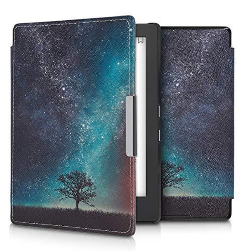 kwmobile Custodia Compatibile con Kobo Aura H2O Edition 1 - Cover in Simil Pelle Magnetica Flip Case per eReader Blu/Grigio/Nero