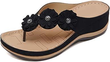 JTYR Women Flat Sandals Slides Slip On Open Toe Petal Espadrilles Sandals Faux Leather Platform Slipper Sandals Black-39