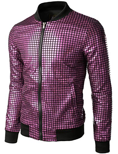 JOGAL Men's Metallic Sequins Gold Bomber Jacket 70s Disco Party Costume XX-Large Pink