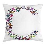 Letra C Throw Pillow Cojín, Tema Inspirado en Gra Natural Mariposas Volando Juntas y diseño Colorido, Funda de Almohada Decorativa Cuadrada , 50x50cm, Blanco púrpura