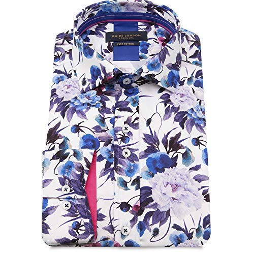 Photo of Guide London Slim Fit Purple Floral Print Men's Shirt LS75404 The Shirt Store Large White/Lil
