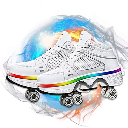 Barm Rollschuhe, Rollschuhe für Damen/Herren, 2-in-1-Parkour-Schuhe, Universal-Wanderschuhe - Outdoor-Sport-Kick-Rollschuhe, mit LED-Beleuchtung - Automatische Laufschuhe für Erwachsene, 34