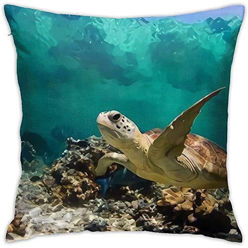 Schildpad op zoek naar voedsel in het koraal kussenslopen decoratieve dagelijkse bank gooien kussensloop kussenslopen met rits kussensloop