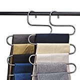 CEISPOB Multi-Purpose Pants Hangers, S-Type 5 Layers Stainless Steel Clothes Hangers Storage Pant Rack Closet Space Saver for Trousers Jeans Towels Scarf Tie (4-Pieces)