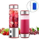 TTLIFE Mini Blender Portable USB INOX & Verre 450ml Rechargeable Juicer Éléctrique Mixeur 4 Lames pour Fruit, Légume, Millkshake Smoothie/Sport, Voyage (Batterie, Sans BPA/PVC) (rose)