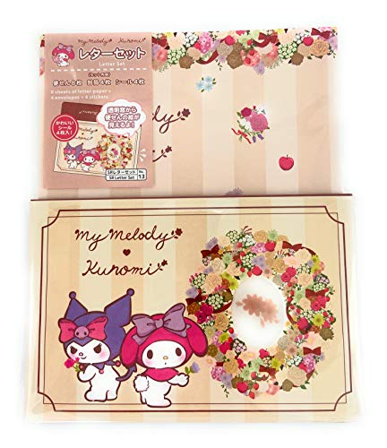 Sanrio My Melody Kuromi Window Open Letter Set 8 Writing Paper + 4 Envelopes + 4 Stickers Made in Japan
