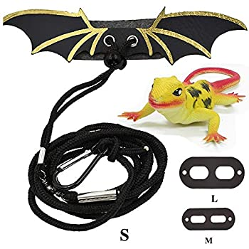 YunPoo Adjustable Bearded Dragon Leather Harness Leash with Cool Wings for Lizard Reptiles Amphibians and Other Small Pet Animals S,M,L,3 in 1 2019 New
