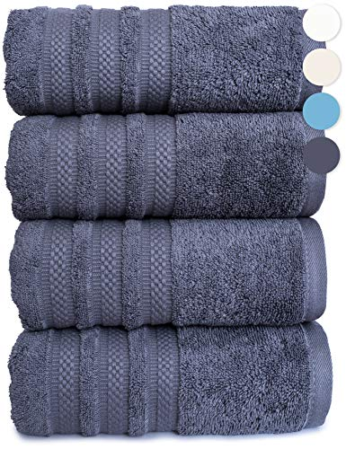 4 Pack Luxury Bath Towel 100% American Combed Cotton Premium Quality Soft Absorbent Plush Thick Towels (Charcoal)